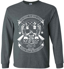 The Right to Bear Arms. Shall Not Be Infringed. Since 1791. White Print. Gildan Ultra Cotton Long Sleeve Shirt.