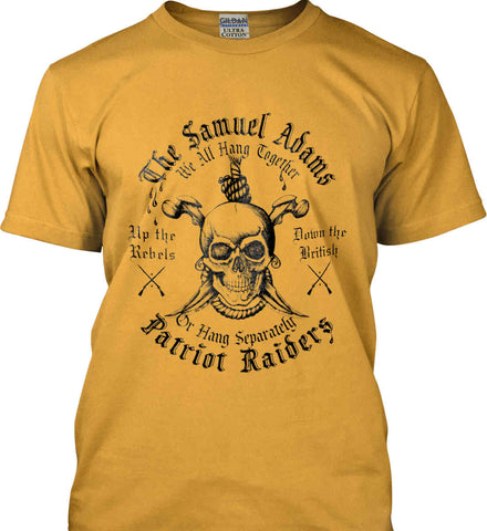The Samuel Adams Patriot Raiders. Black Print. Gildan Ultra Cotton T-Shirt.