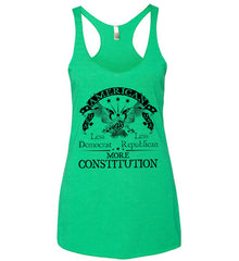 America: Less Democrat - Less Republican. More Constitution. Black Print Women's: Next Level Ladies Ideal Racerback Tank.