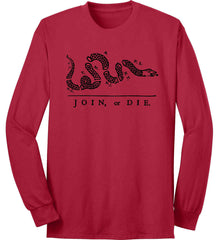 Join or Die. Black Print. Port & Co. Long Sleeve Shirt. Made in the USA..