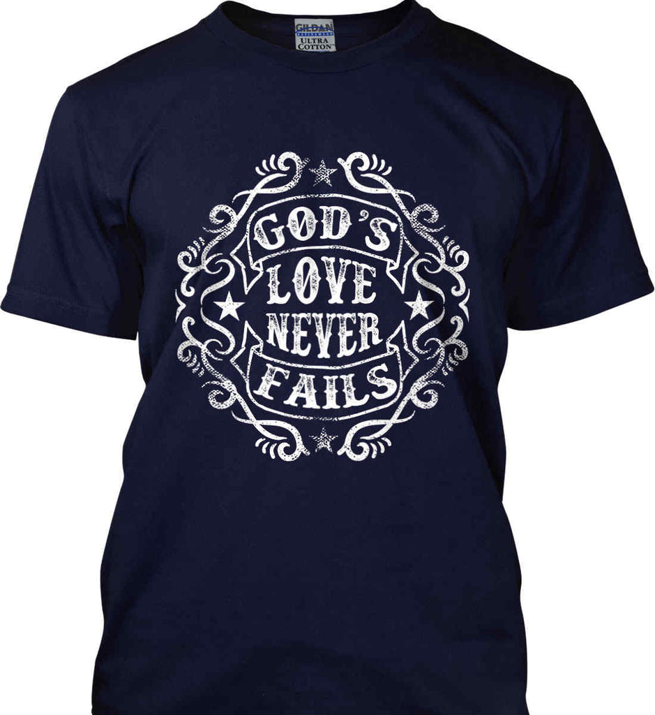 God's Love Never Fails. Gildan Tall Ultra Cotton T-Shirt.-4
