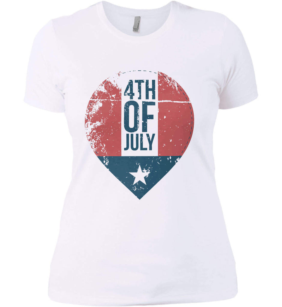 4th of July with Star. Women's: Next Level Ladies' Boyfriend (Girly) T-Shirt.-2
