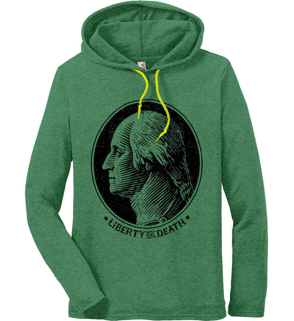 George Washington Liberty or Death. Black Print Anvil Long Sleeve T-Shirt Hoodie.-4