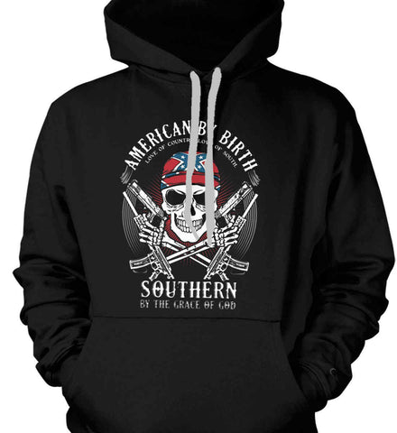 American By Birth. Southern By the Grace of God. Love of Country Love of South. Gildan Heavyweight Pullover Fleece Sweatshirt.