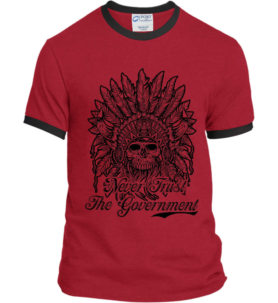 Skeleton Indian. Never Trust the Government. Port and Company Ringer Tee.-8