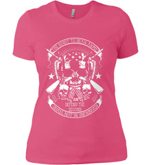 The Right to Bear Arms. Shall Not Be Infringed. Since 1791. White Print. Women's: Next Level Ladies' Boyfriend (Girly) T-Shirt.