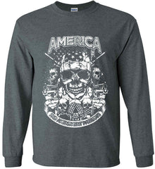 America. 2nd Amendment Patriots. White Print. Gildan Ultra Cotton Long Sleeve Shirt.