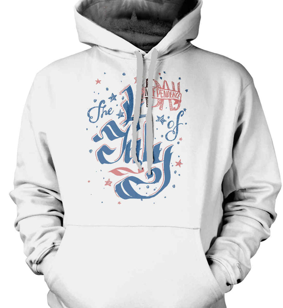 The 4th of July. Ribbon Script. Gildan Heavyweight Pullover Fleece Sweatshirt.-2