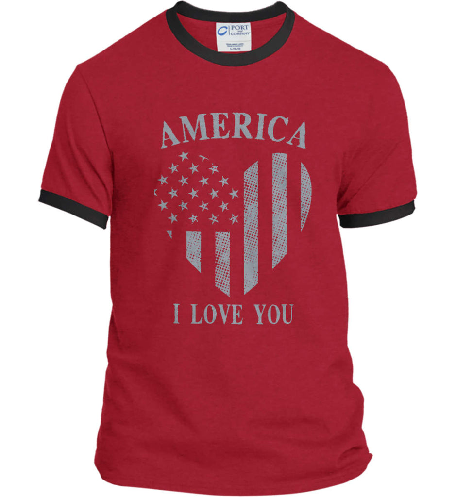 America I Love You Port and Company Ringer Tee.-2