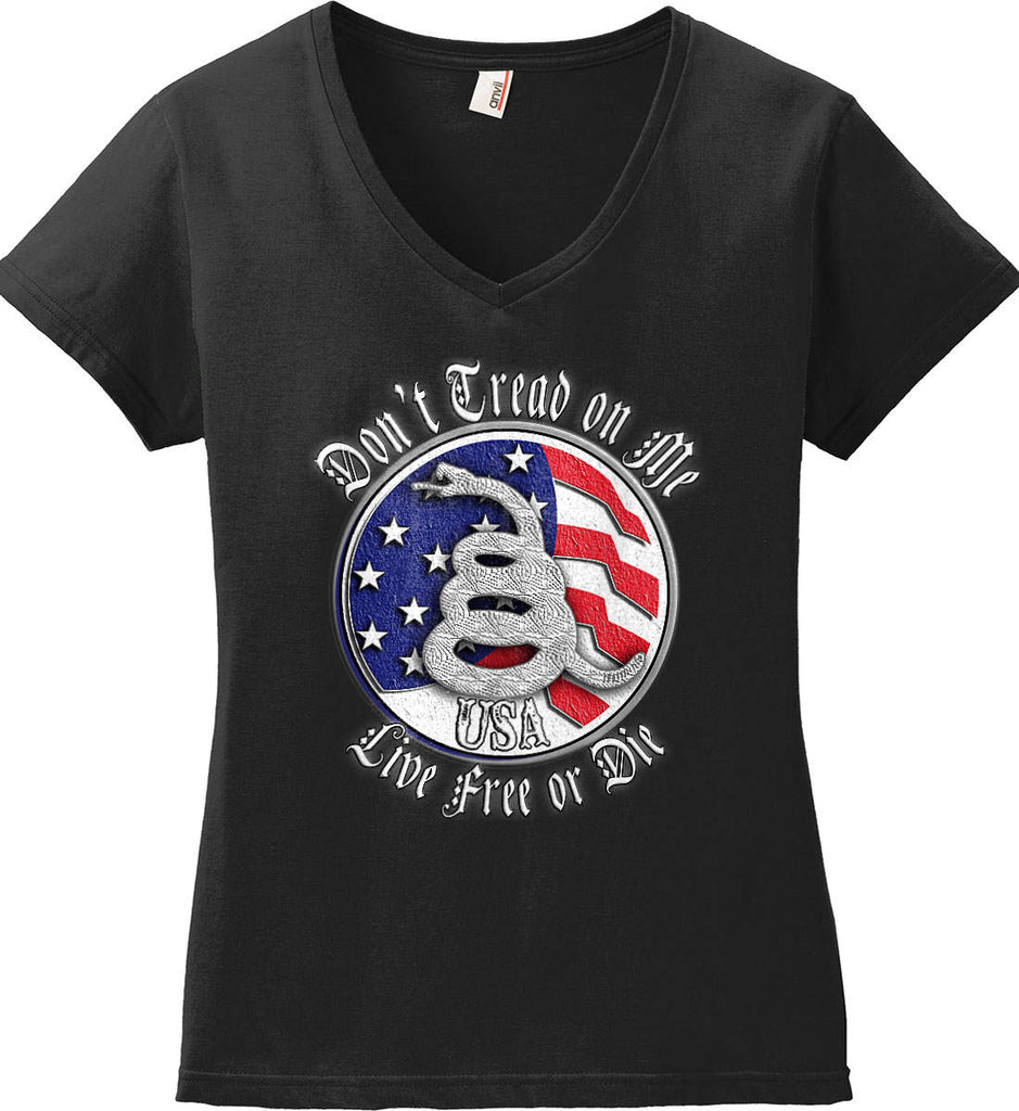 Don't Tread on Me: Red, White and Blue. Live Free or Die. Women's: Anvil Ladies' V-Neck T-Shirt.-1