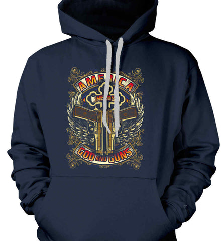 America Needs God and Guns. Gildan Heavyweight Pullover Fleece Sweatshirt.