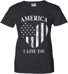 America I Love You White Print. Women's: Gildan Ladies' 100% Cotton T-Shirt.