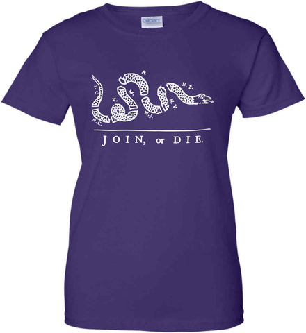 Join or Die. White Print. Women's: Gildan Ladies' 100% Cotton T-Shirt.