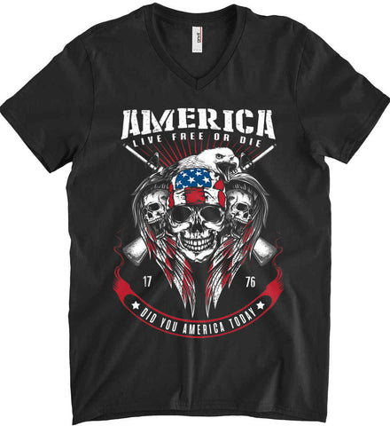 Did you America Today. 1776. Live Free or Die. Skull. Anvil Men's Printed V-Neck T-Shirt.