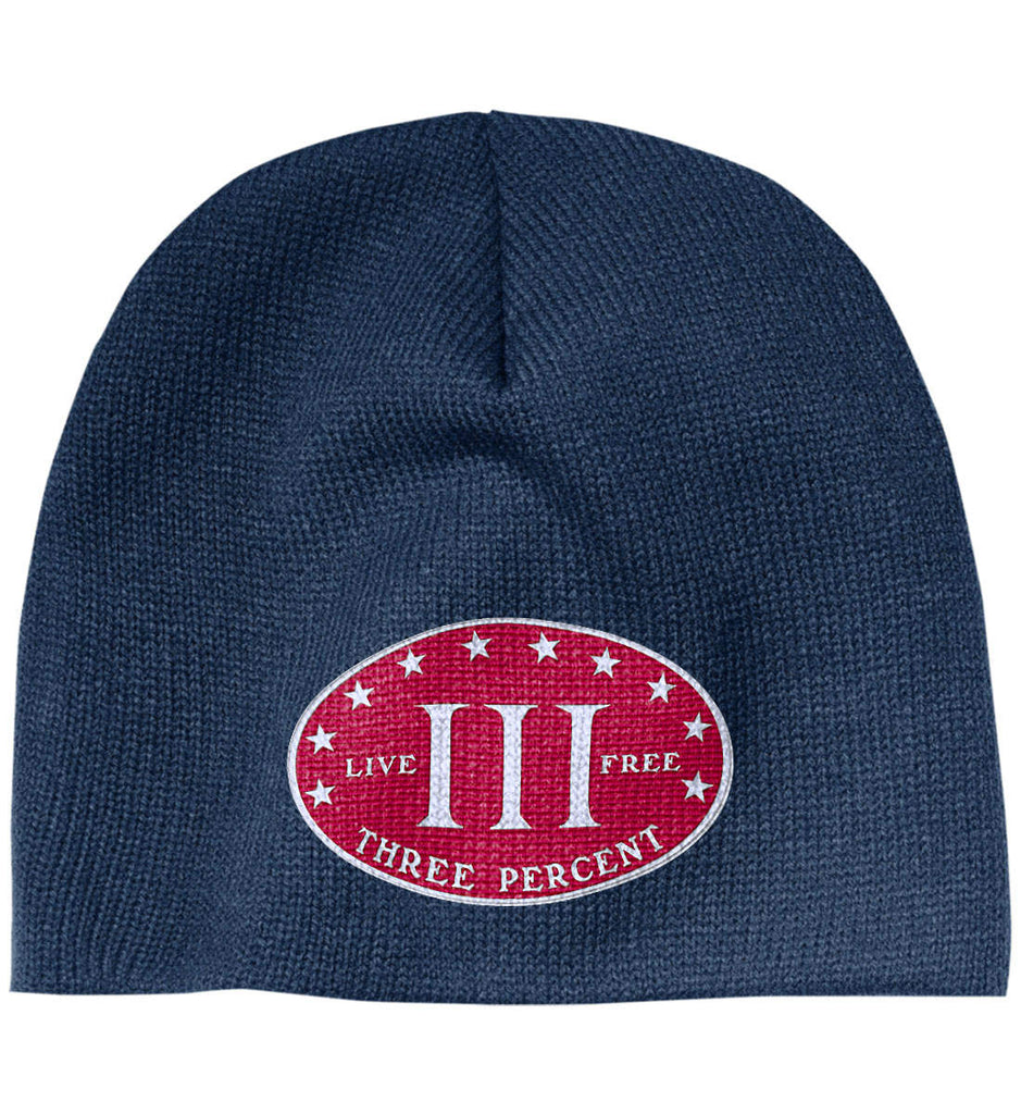 Three Percenter. Live Free. Hat. 100% Acrylic Beanie. (Embroidered)-3