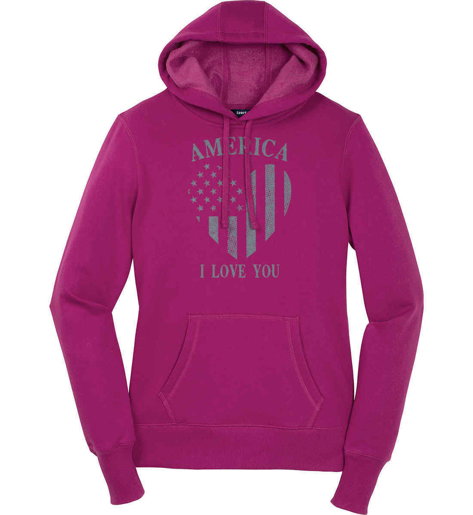 America I Love You Women's: Sport-Tek Ladies Pullover Hooded Sweatshirt.-4