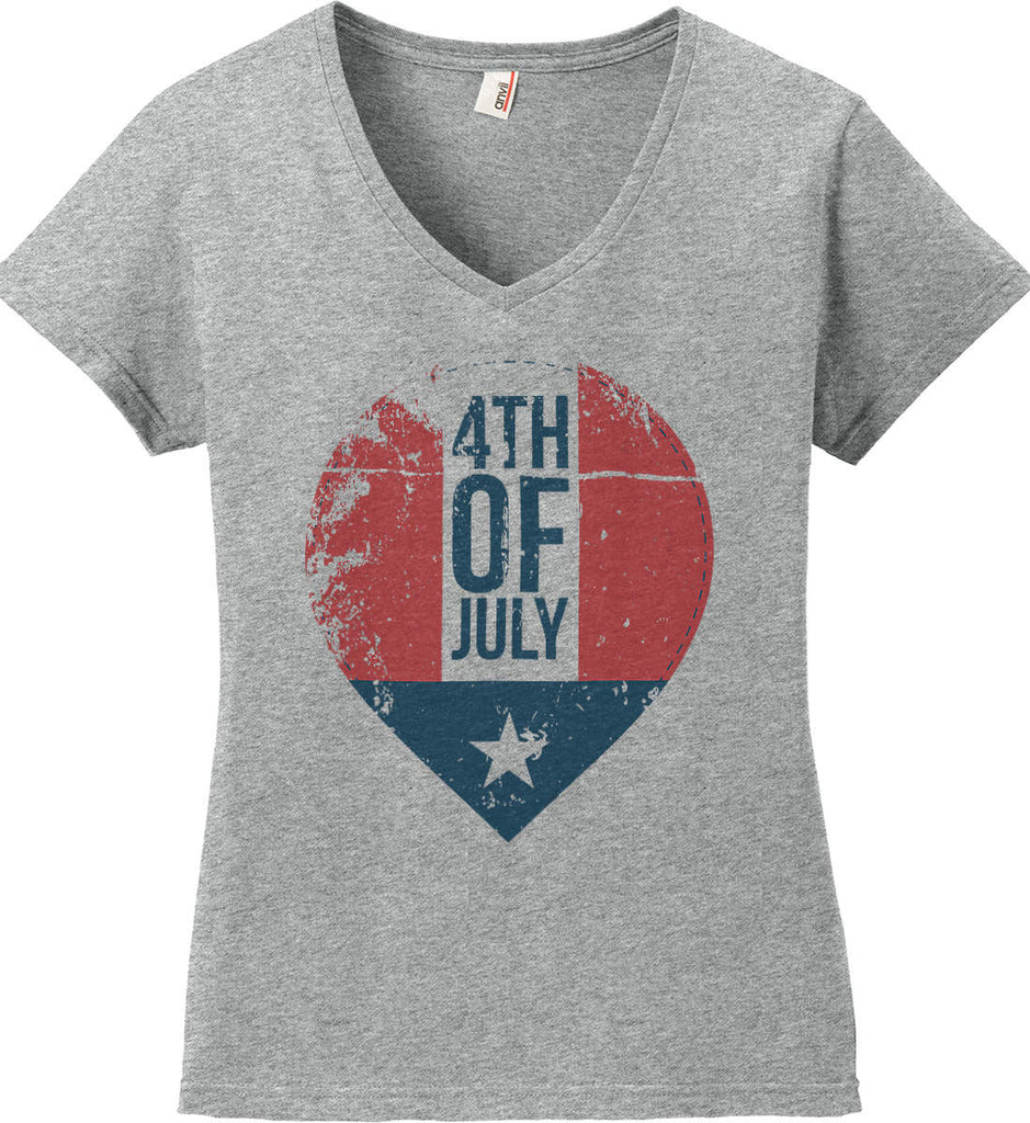4th of July with Star. Women's: Anvil Ladies' V-Neck T-Shirt.-1