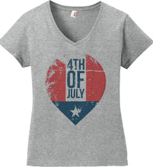 4th of July with Star. Women's: Anvil Ladies' V-Neck T-Shirt.