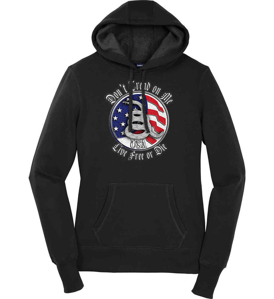 Don't Tread on Me: Red, White and Blue. Live Free or Die. Women's: Sport-Tek Ladies Pullover Hooded Sweatshirt.-1