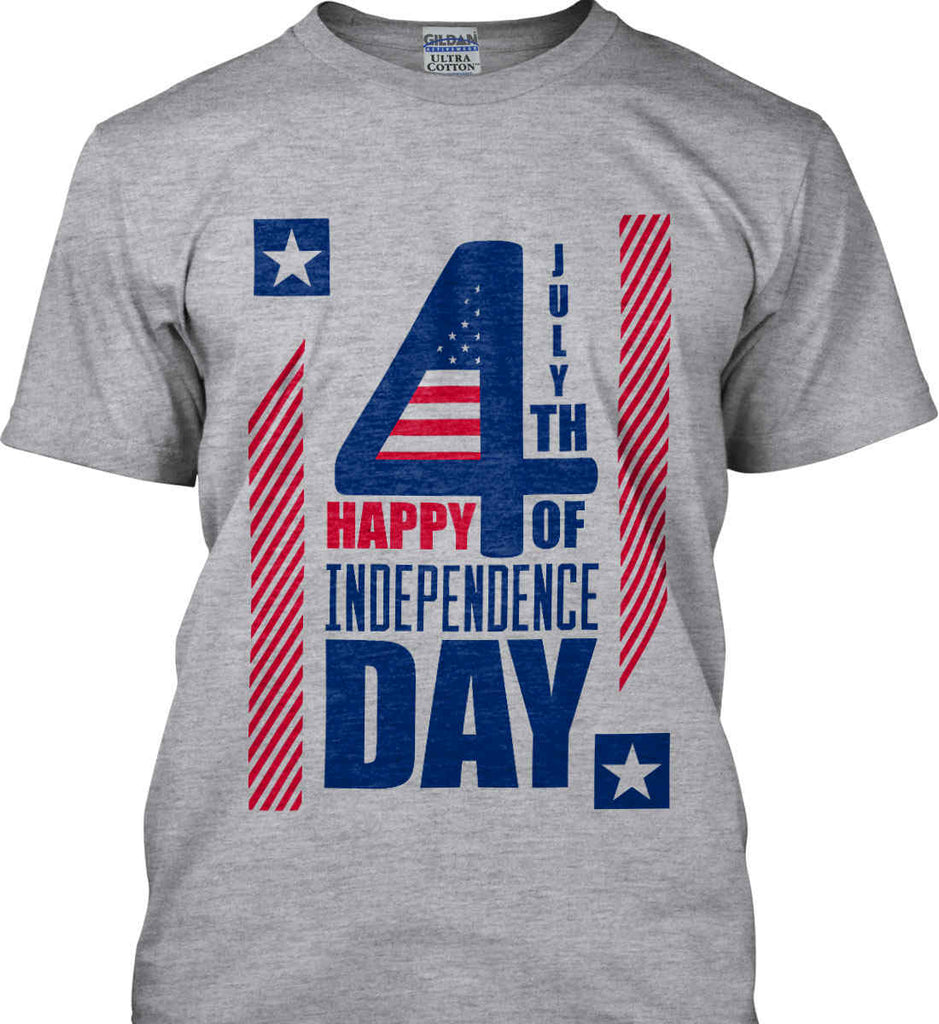 4th of July with Stars and Stripes. Gildan Ultra Cotton T-Shirt.-4