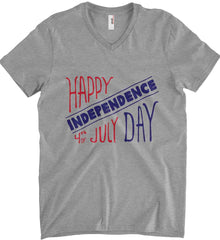 Happy Independence Day. 4th of July. Anvil Men's Printed V-Neck T-Shirt.