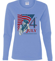Patriot Flag. July 4th. Independence Day. Women's: Gildan Ladies Cotton Long Sleeve Shirt.