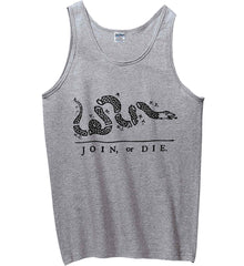 Join or Die. Black Print. Gildan 100% Cotton Tank Top.