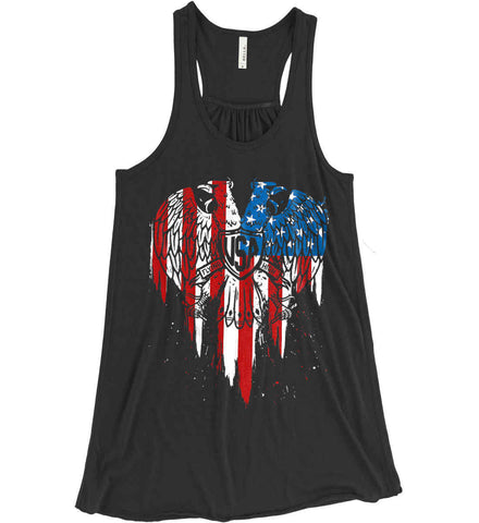 USA Eagle Flying High. Women's: Bella + Canvas Flowy Racerback Tank.