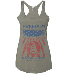 Freedom. Give me liberty or give me death. Women's: Next Level Ladies Ideal Racerback Tank.