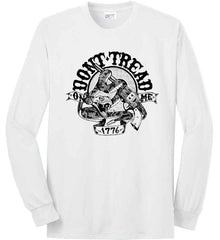 Don't Tread on Me: 1776. Black Print. Port & Co. Long Sleeve Shirt. Made in the USA..
