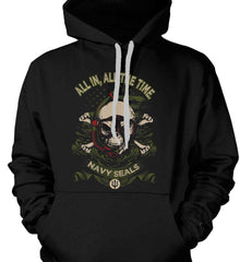 All In, All The Time. Navy Seals. Gildan Heavyweight Pullover Fleece Sweatshirt.