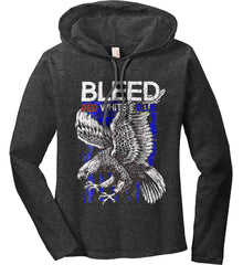 BLEED Red, White & Blue. Eagle on Flag. Women's: Anvil Ladies' Long Sleeve T-Shirt Hoodie.