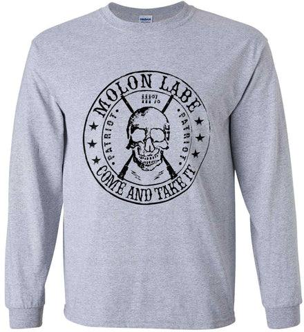 Molon Labe. Come and Take. Skull. Black Print Gildan Ultra Cotton Long Sleeve Shirt.