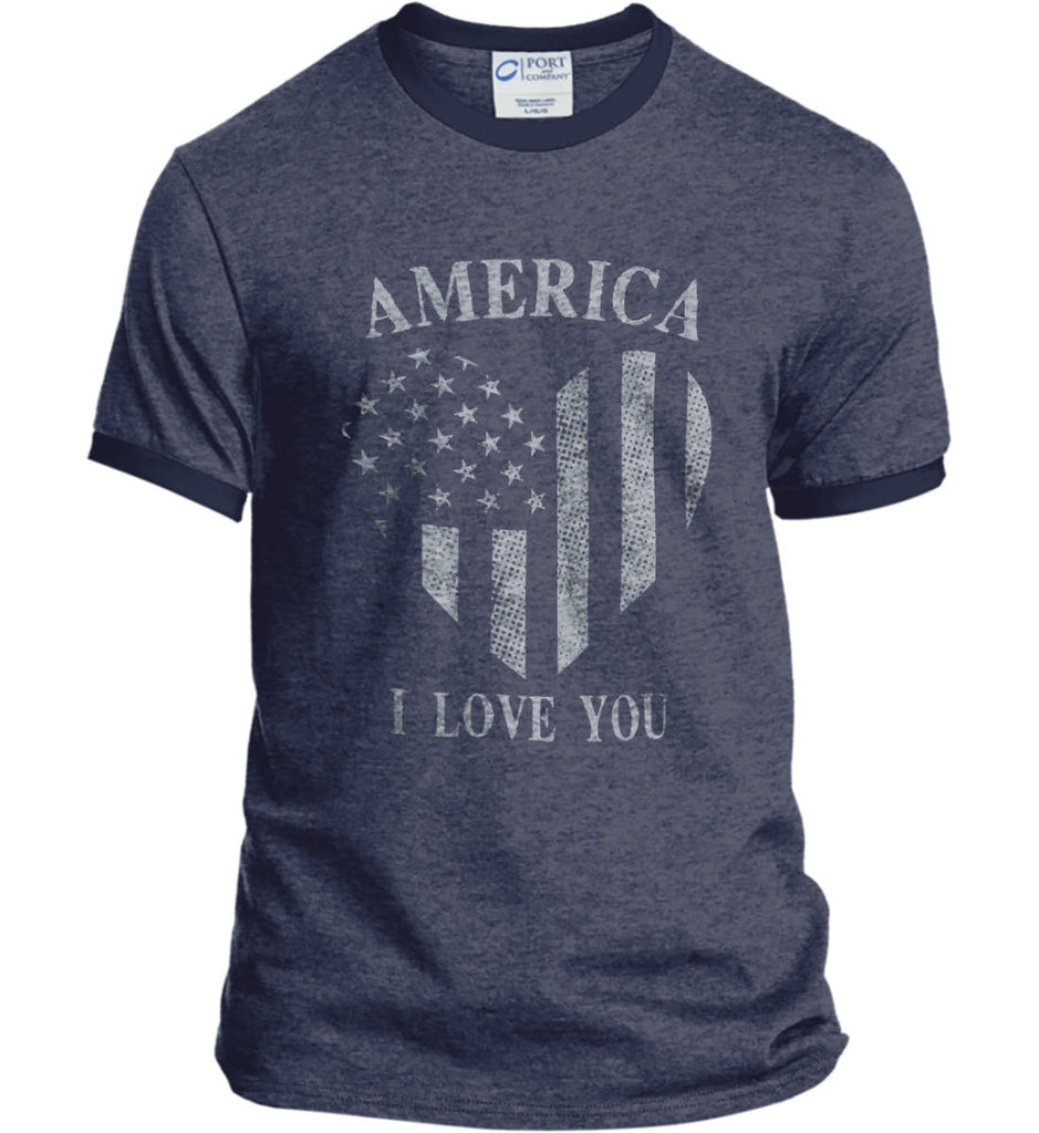 America I Love You Port and Company Ringer Tee.-4
