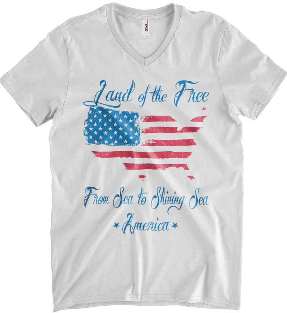 Land of the Free. From sea to shining sea. Anvil Men's Printed V-Neck T-Shirt.-2