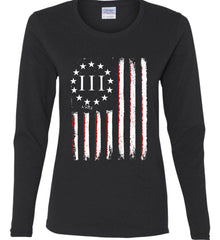 Three Percent on American Flag. Women's: Gildan Ladies Cotton Long Sleeve Shirt.