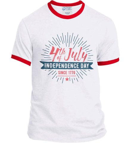 4th of July. Independence Day Since 1776. Port and Company Ringer Tee.