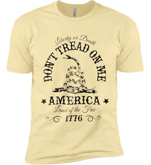 Don't Tread on Me. Liberty or Death. Land of the Free. Black Print. Next Level Premium Short Sleeve T-Shirt.