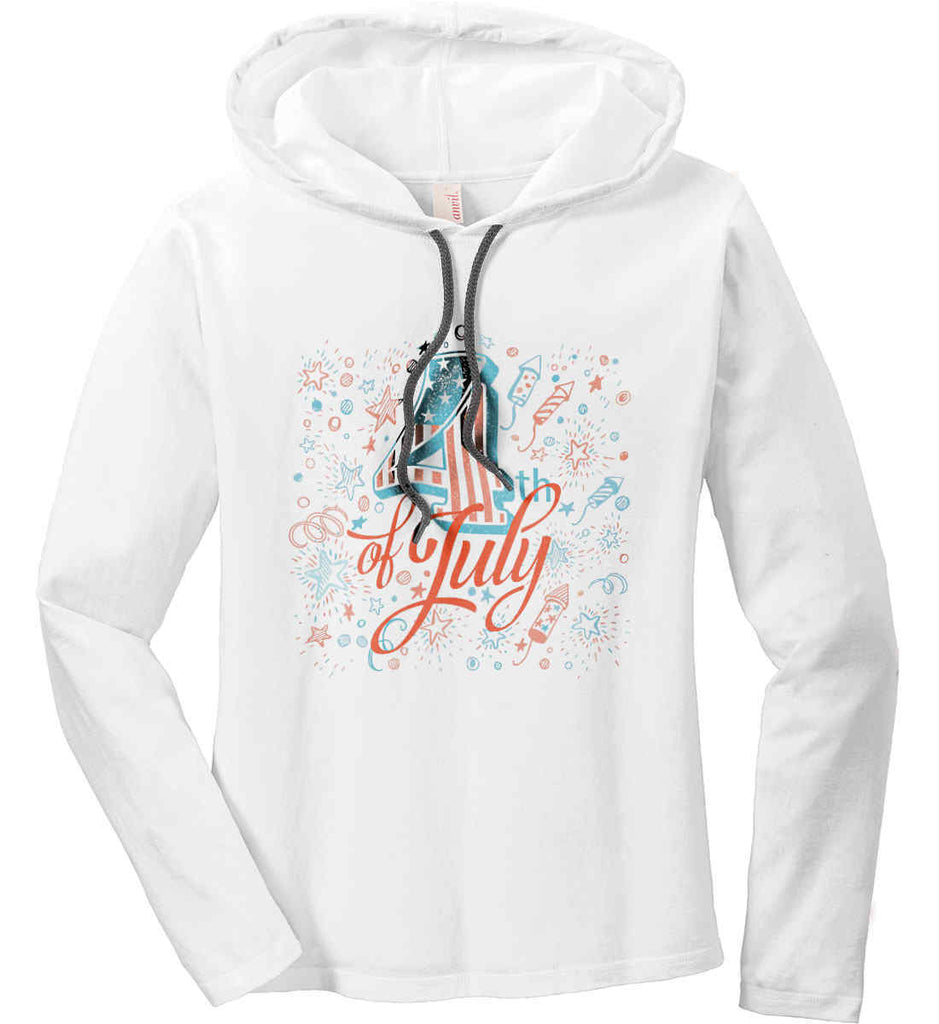 4th of July. Stars and Rockets. Women's: Anvil Ladies' Long Sleeve T-Shirt Hoodie.-1