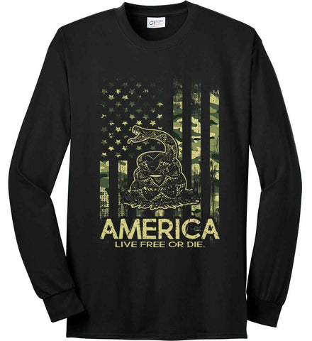 America. Live Free or Die. Don't Tread on Me. Camo. Port & Co. Long Sleeve Shirt. Made in the USA..