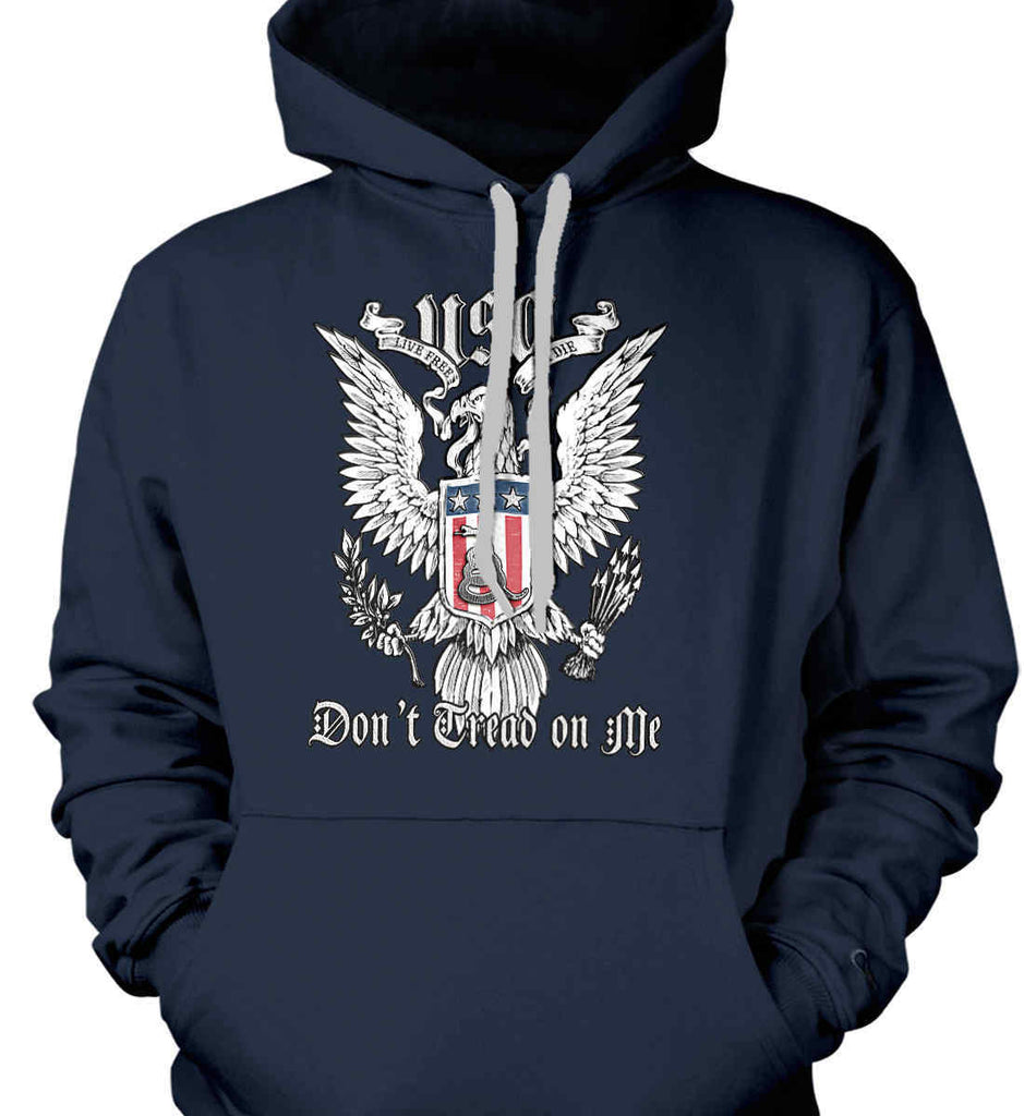 Don't Tread on Me. Eagle with Shield and Rattlesnake. Gildan Heavyweight Pullover Fleece Sweatshirt.-6
