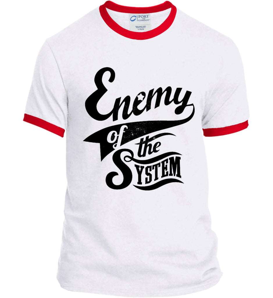 Enemy of The System. Port and Company Ringer Tee.-4