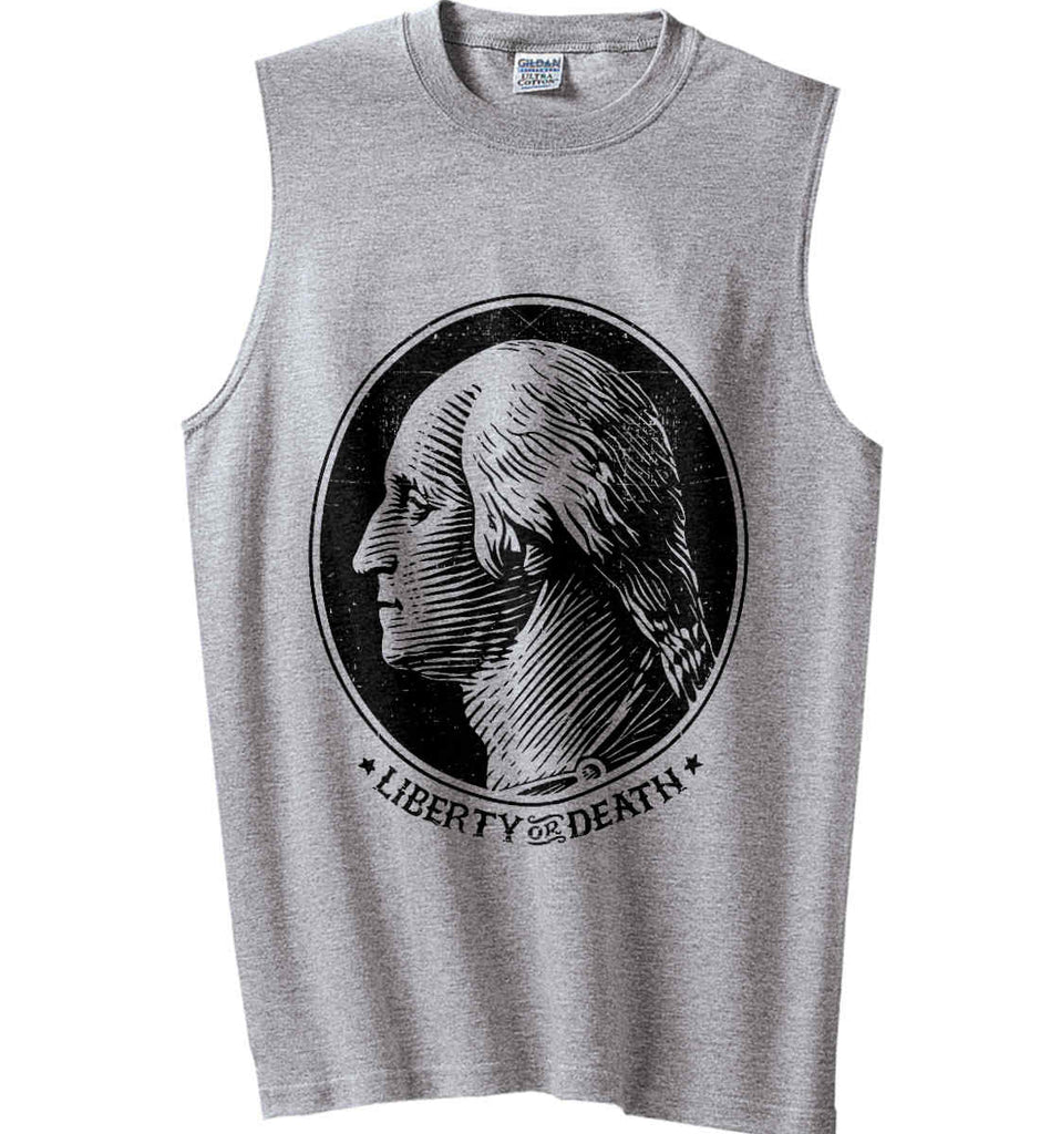 George Washington Liberty or Death. Black Print Gildan Men's Ultra Cotton Sleeveless T-Shirt.-2