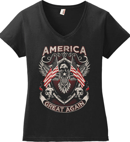 America. Great Again. Women's: Anvil Ladies' V-Neck T-Shirt.