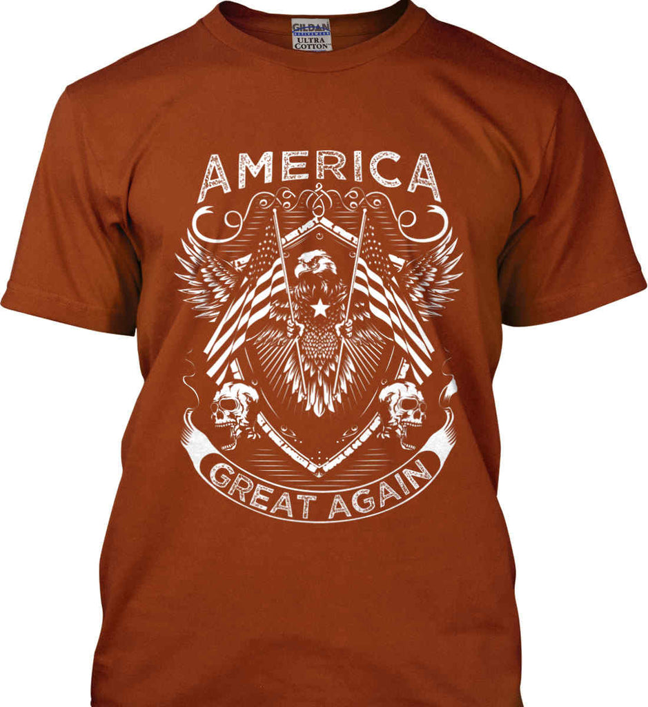 America. Great Again. White Print. Gildan Ultra Cotton T-Shirt.-12