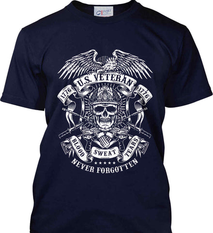 US Veteran. Blood Sweat Tears. Port & Co. Made in the USA T-Shirt.