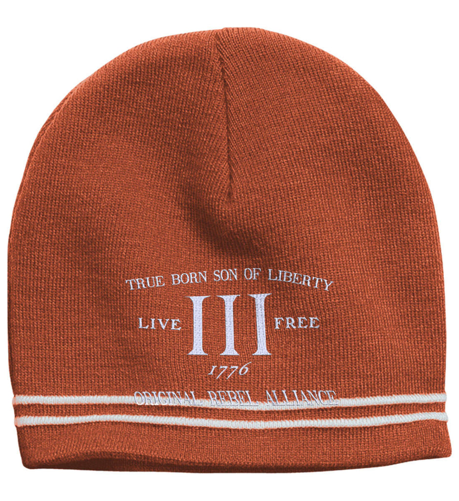 True Born Son of Liberty. Original Rebel Alliance. Hat. Sport-Tek Colorblock Beanie. (Embroidered)-6