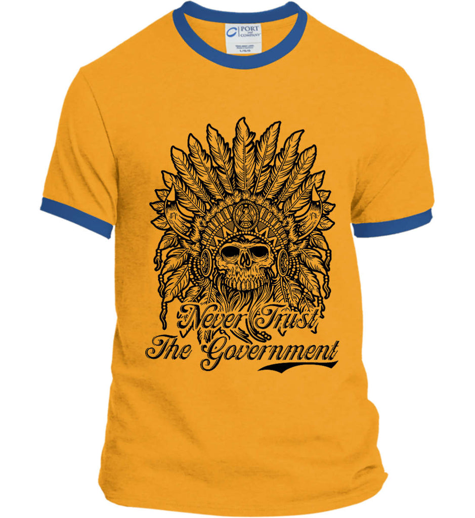 Skeleton Indian. Never Trust the Government. Port and Company Ringer Tee.-6