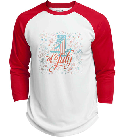 4th of July. Stars and Rockets. Sport-Tek Polyester Game Baseball Jersey.
