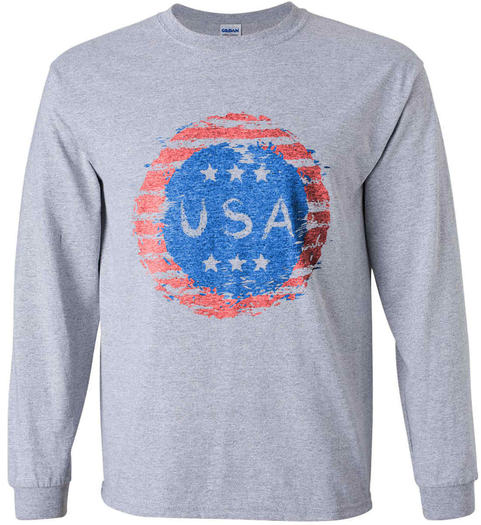Grungy USA. Gildan Ultra Cotton Long Sleeve Shirt.-1